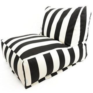 Indoor/Outdoor Vertical Stripe Bean Bag Chair Lounger (Black)