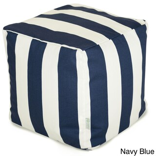 Indoor/Outdoor Majestic Home Goods Vertical Stripe Small Cube Pillow (Option: Navy Blue)