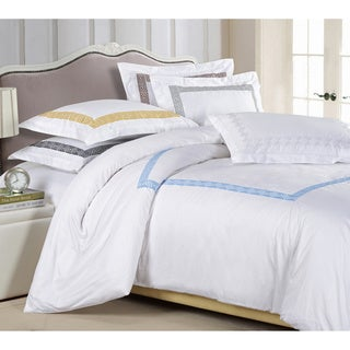Superior Serena Embroidered 3-piece Cotton Sateen Duvet Cover Set