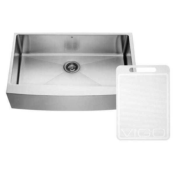 VIGO 36-inch Farmhouse Stainless Steel 16 Gauge Single Bowl Kitchen Sink with Rounded Edge
