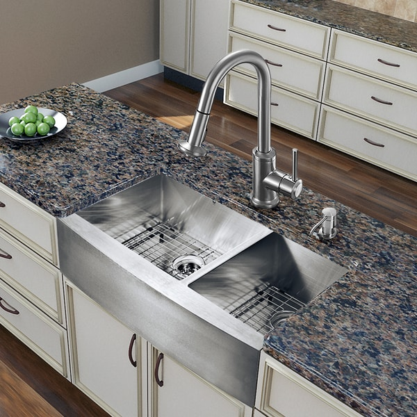 Farmhouse Stainless Steel Kitchen Sink : ... inch Farmhouse Stainless Steel Double Bowl Kitchen Sink and Faucet Set