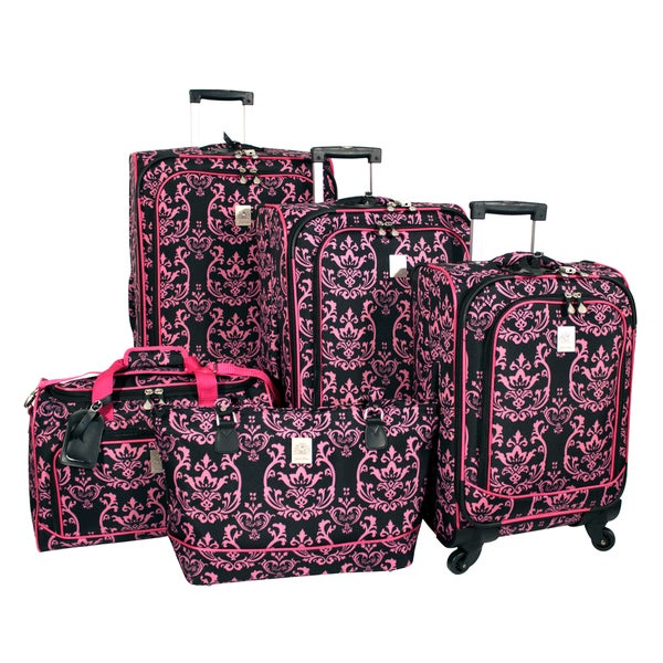 Jenni Chan Damask 5-piece Fashion Spinner Luggage Set