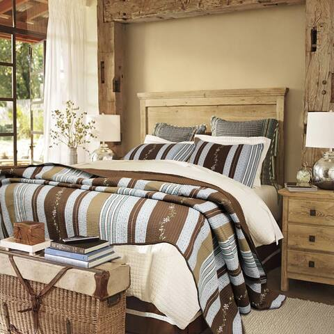 Copper Grove Amaryllis Striped 3-piece Quilt Set