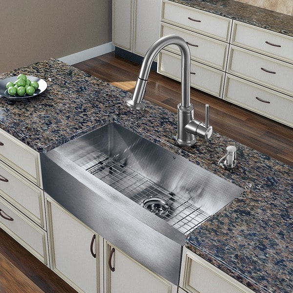 "Vigo All In One Camden Farmhouse Kitchen Sink Set: Shop VIGO All-In-One 30"" Bedford Stainless Steel Farmhouse"