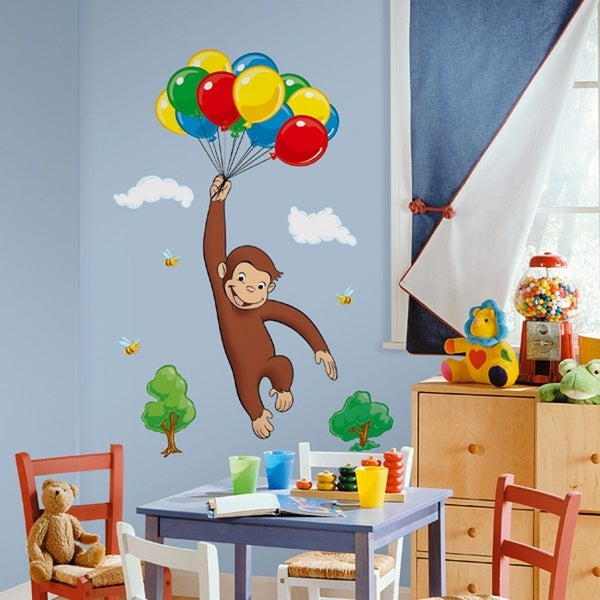 Curious george peel stick giant wall decal free for Curious george wall mural