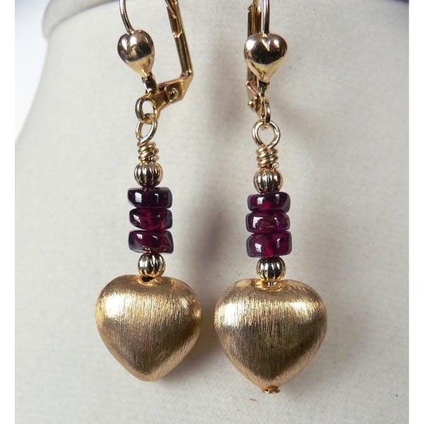 'Giata' Brushed Gold Dangle Heart Earrings