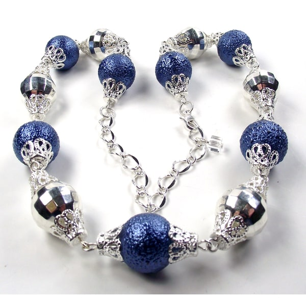 Silverplated Blue Bumpy Glass Pearl and Silver Crystal Lucite Jewelry Set