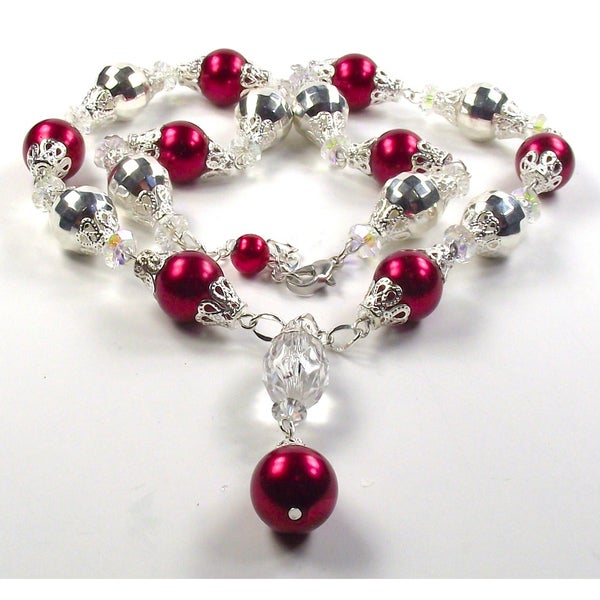 Cherry Red Glass Pearl and Silver Crystal Lucite Wedding Jewelry Set