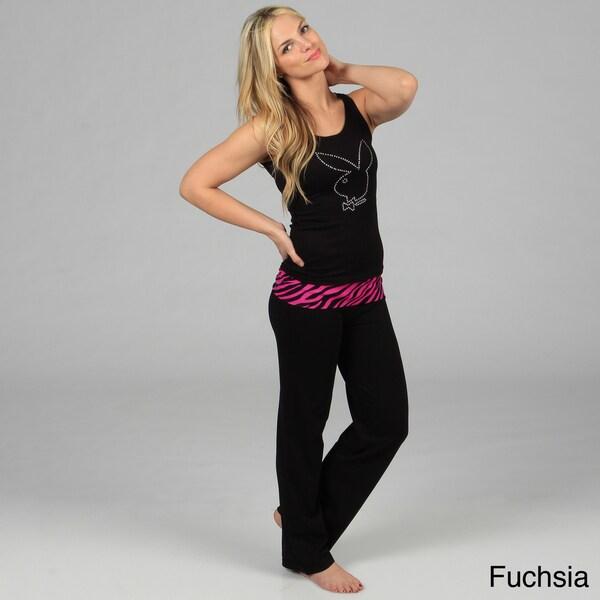 Playboy Intimates Women's Rhinestone Detailed Loungewear Set
