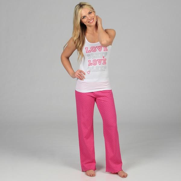 Stanzino Women's 'Love Sleep' White and Pink Polka Dot Sleepwear Set