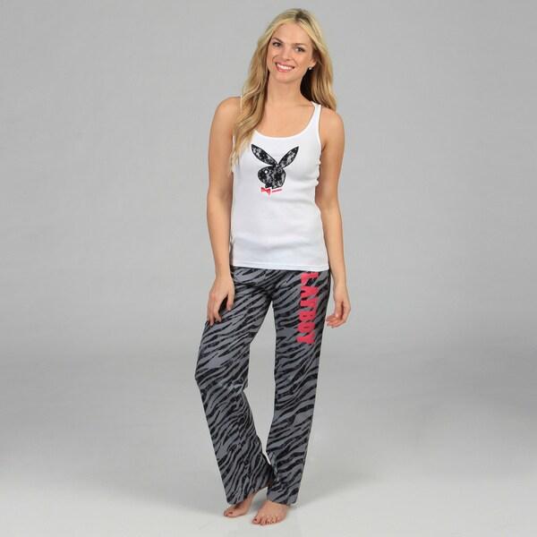 Playboy Women's Lace and Zebra Printed Loungewear Set