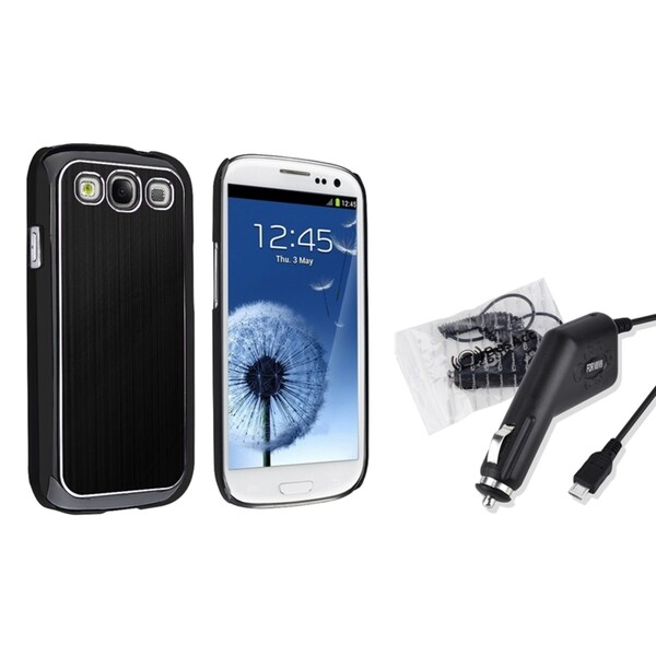 INSTEN Black Aluminum Case Cover/ Car Charger for Samsung Galaxy S III/ S3