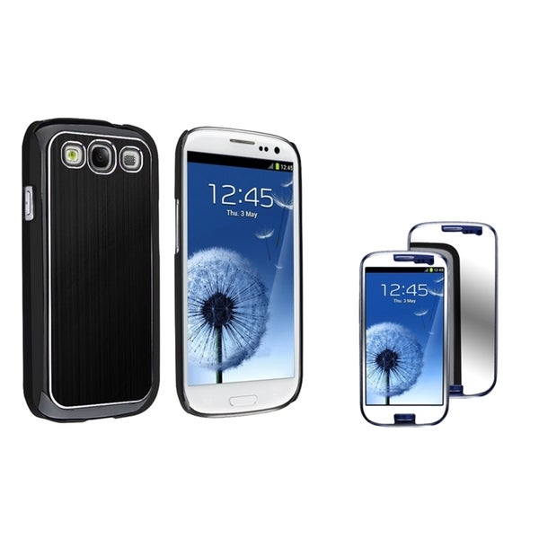 INSTEN Black Phone Case Cover/ Mirror LCD Protector for Samsung Galaxy S III/ S3