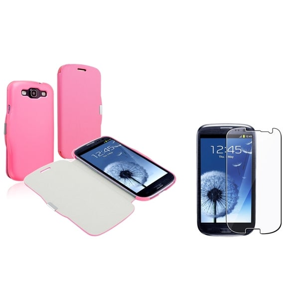 BasAcc Pink Leather Case/ Protector for Samsung Galaxy S III/ S3