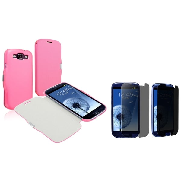 BasAcc Pink Case/ Privacy LCD Protector for Samsung Galaxy S III/ S3