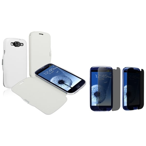 INSTEN White Phone Case Cover/ Privacy LCD Protector for Samsung Galaxy S III/ S3