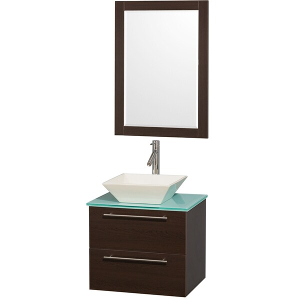 Wyndham Collection 'Amare' 24-inch Espresso/ Green Top/ Bone Sink Vanity Set