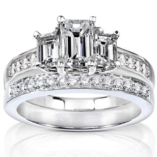 Annello by Kobelli 14k Gold 1 1/2ct TDW Emerald Cut Diamond Bridal Set (H-I, SI1-SI2)
