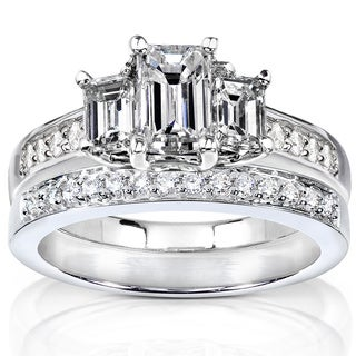 Annello by Kobelli 14k Gold 1 1/2ct TDW Emerald Cut Diamond Bridal Set