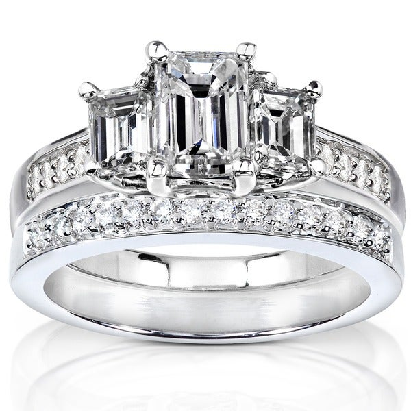 Annello by Kobelli 14k Gold 1 7/8ct TDW Emerald Cut Diamond Bridal Set (H-I, SI1-SI2)
