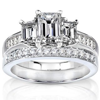 Annello by Kobelli 14k Gold 1 7/8ct TDW Emerald Cut Diamond Bridal Set
