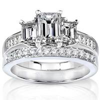Annello by Kobelli 14k Gold 1 7/8ct TDW Emerald Cut Diamond Bridal Set