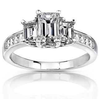 Annello by Kobelli 14k Gold 1 1/3 ct TDW Emerald-cut Diamond Three-Stone Engagement Ring