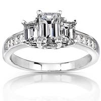Annello by Kobelli 14k Gold 1 1/3 ct TDW Emerald-cut Diamond Three-Stone Engagement Ring - White Gold