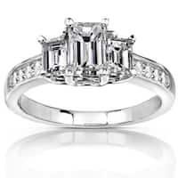 Annello by Kobelli 14k Gold 1 1/3 ct TDW Emerald-cut Diamond Three-Stone Engagement Ring - White Gol