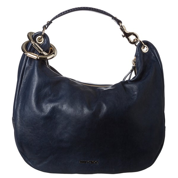 Jimmy Choo 'Solar' Navy Calf Leather Hobo Handbag