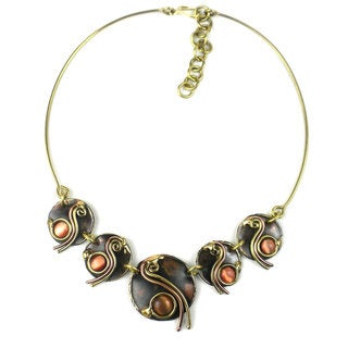 Handcrafted Peach Tiger Eye Swirl Brass Necklace (South Africa)