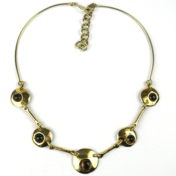 Handcrafted Bonbon Gold Tiger Eye Necklace (South Africa)