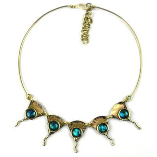 Handcrafted Brass Paua Ocean Necklace (South Africa)