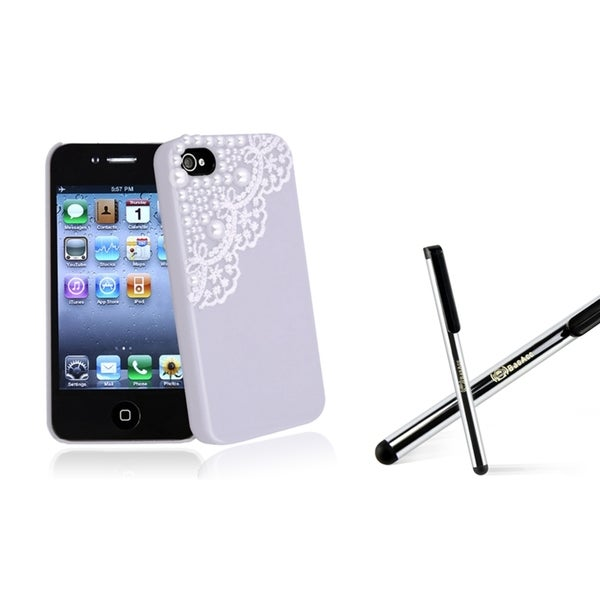 BasAcc Purple with Lace Pearl Case/ Stylus for Apple iPhone 4/ 4S