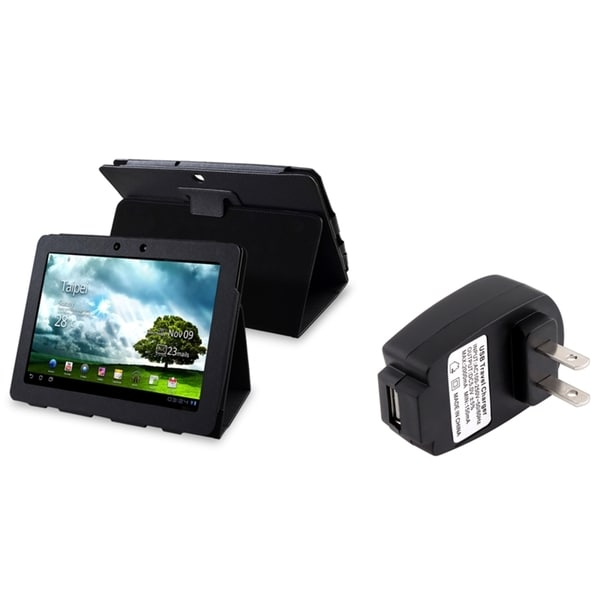 INSTEN Black Phone Case Cover/ Travel Charger for Asus Eee Pad Transformer TF300T