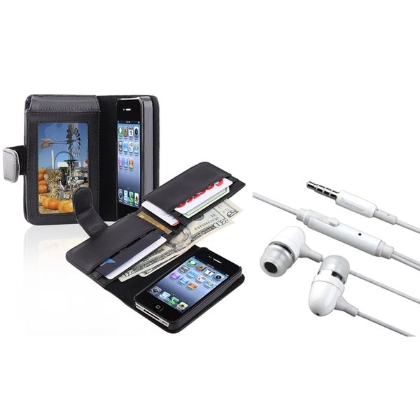 INSTEN Headset/ Leather Wallet Case for Apple iPhone 4/ 4S