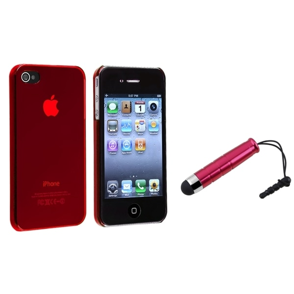 BasAcc Red Snap-on Case/ Mini Stylus for Apple iPhone 4/ 4S