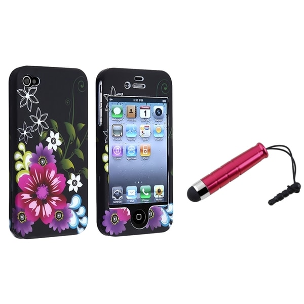 BasAcc Red/ Purple Flower Snap-on Case/ Stylus for Apple iPhone 4/ 4S