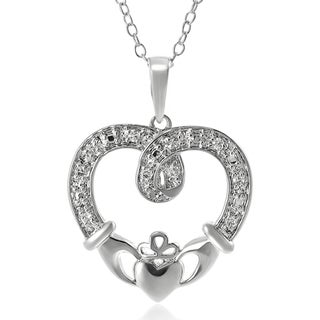 Journee Collection Sterling Silver Cubic Zirconia Claddagh Necklace