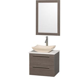 Wyndham Collection 'Amare' 24-inch Grey Oak/ White Top/ Marble Sink Vanity Set