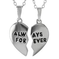 Journee Collection Sterling Silver 2-piece 'Always Forever' Pendant