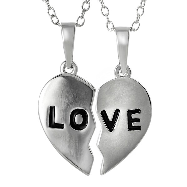 Journee Collection Sterling Silver 2-piece 'Love' Pendant