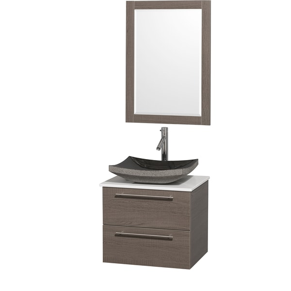 Wyndham Collection 'Amare' 24-inch Grey Oak/ White Top/ Granite Sink Vanity Set