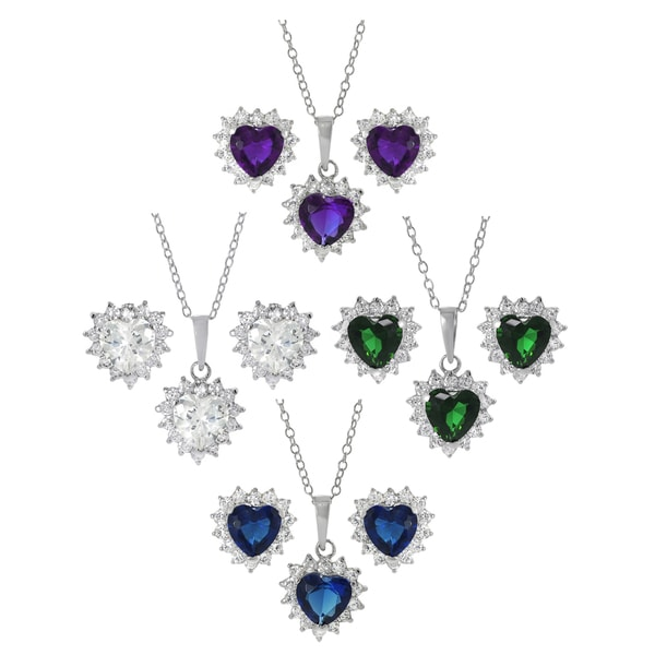 Journee Collection Sterling Silver Heart Cubic Zirconia Jewelry Set