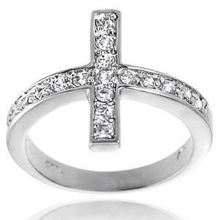 Journee Collection Sterling Silver Cubic Zirconia Sideways Cross Ring
