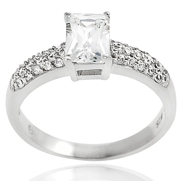 Journee Collection Silver Emerald-cut Cubic Zirconia Engagement-style Ring