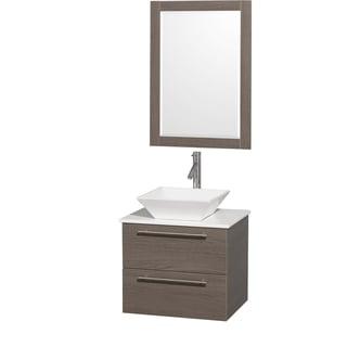 Wyndham Collection 'Amare' 24-inch Grey Oak/ White Top/ Porcelain Sink Vanity Set