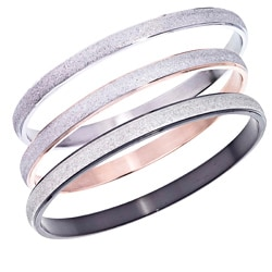 Plated Stainless Steel Diamond-cut Stackable Bangle By Ever One
