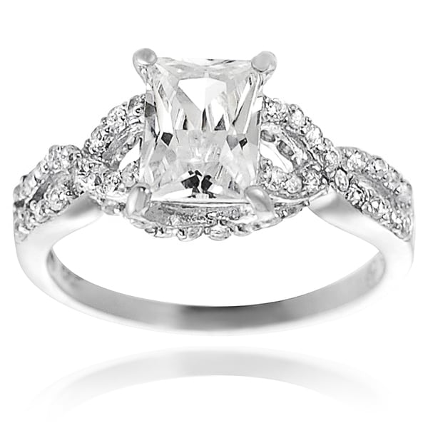 Journee Collection Sterling Silver Basket-set Cubic Zirconia Engagment-style Ring