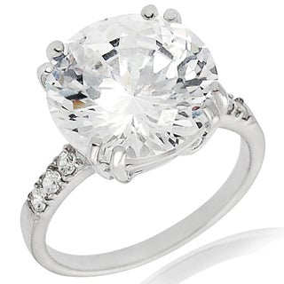 Journee Collection Sterling Silver Basket-set Cubic Zirconia Engagement-style Ring
